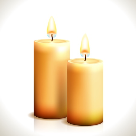 white candle: Burning Candles isolated on white  Illustration