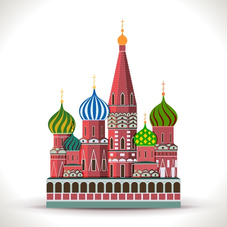 moscow churches: Kremlin, Moscow isolated on white  Illustration