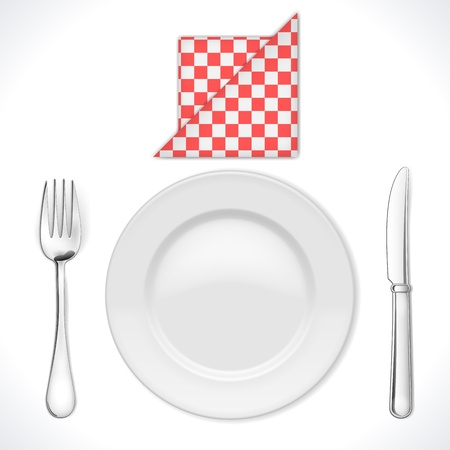 Dinner place setting isolated on white  Illustration