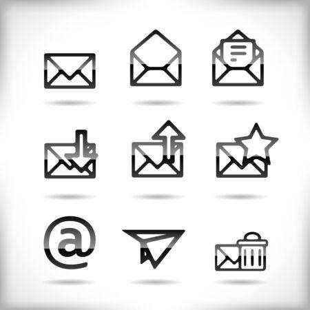 newsletter icon: Black Email Icon Set isolated on white  Illustration
