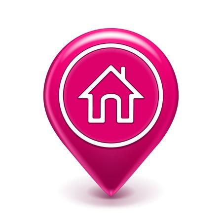 icono inicio: Home Mapa de ubicaci�n del icono aislado en blanco Ilustraci�n Vectores