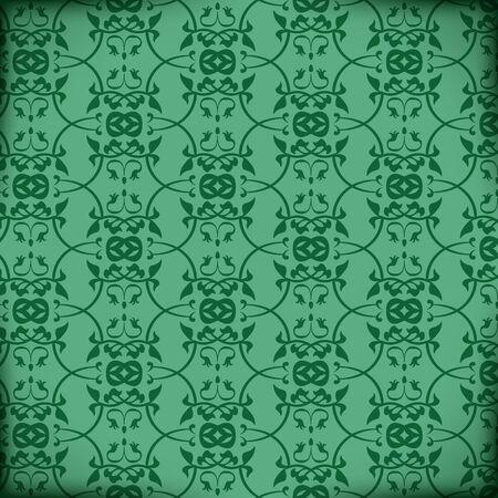 Retro Vector Victorian Pattern on green background Stock Vector - 16332406