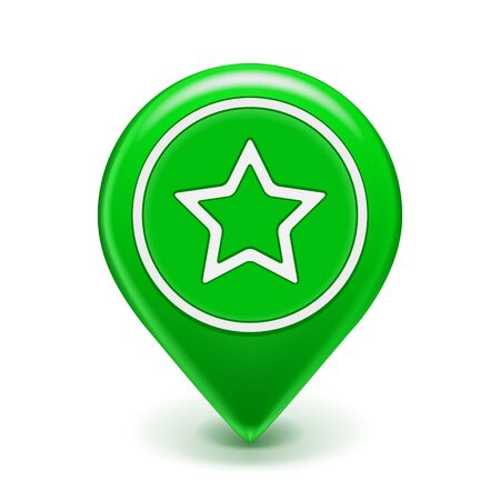 Favorite Map Icon Map Pin green with star isolated on white Illustration