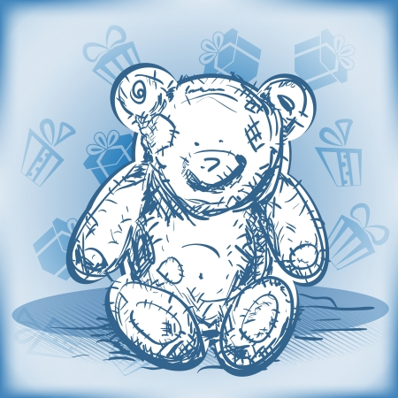Gift Card Background with sweet Teddy bear on blue  Vector Illustration Stock Vector - 16428536