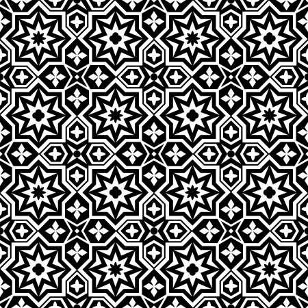 islamic pattern: Abstract ornamental seamless pattern background black and white