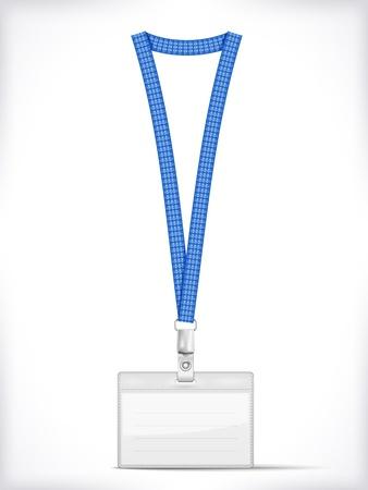 lanyard: Cuerda de seguridad con soporte de etiquetas Badge aislado en blanco Ilustraci�n vectorial