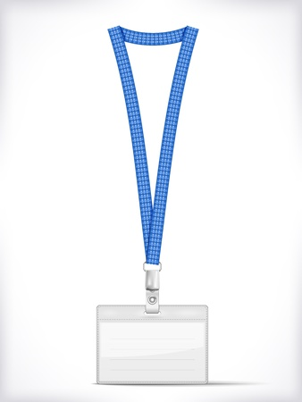 personalausweis: Lanyard mit Tag Badge Holder auf wei�em Vector Illustration isoliert