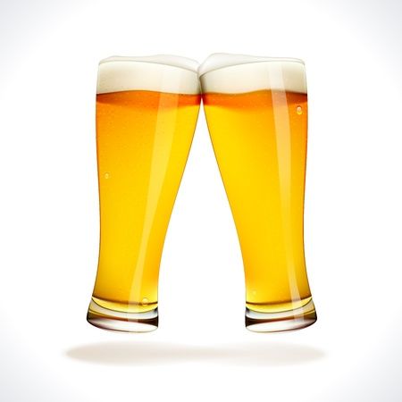 draught: Vector Beer splashing, two glasses  isolated on white