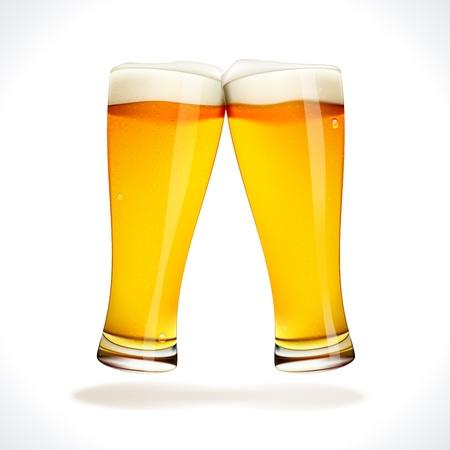 vasos de cerveza: Vector salpicaduras de cerveza, dos copas aislados en blanco Vectores