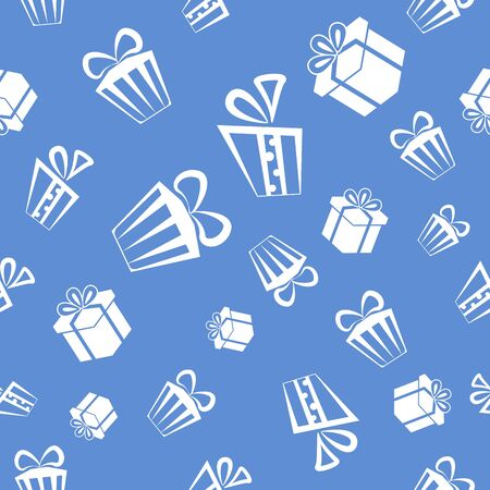 Seamless Gift pattern background, white presents on blue background Stock Vector - 16550334
