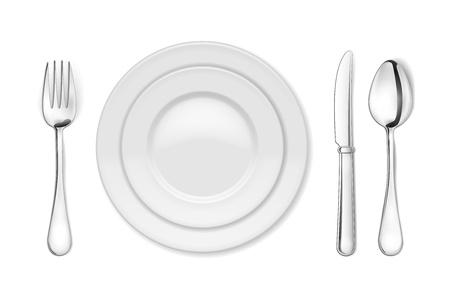 dinner setting: Placa de cena Vector, cuchillo, tenedor y cuchara aislados en blanco backgrond Vectores