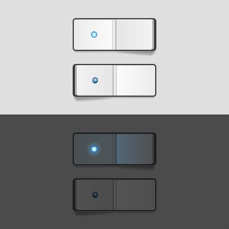 gatillo: En los botones de la interfaz de usuario apagar el aparato, los elementos en fondo blanco y negro Vectores