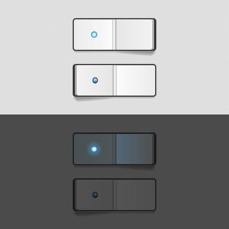 shutdown: On Off switch buttons, UI elements on white and black background