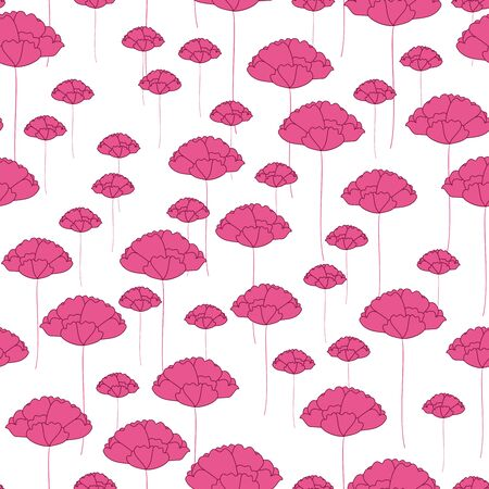 Seamless Pink flowers Pattern on white background Stock Vector - 16550331