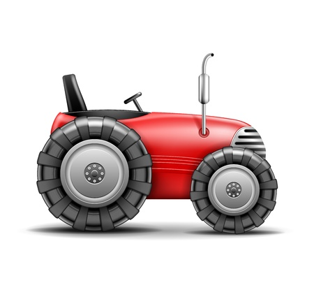 agrimotor: Red Tractor icon isolated on white  Vector Illustration Illustration