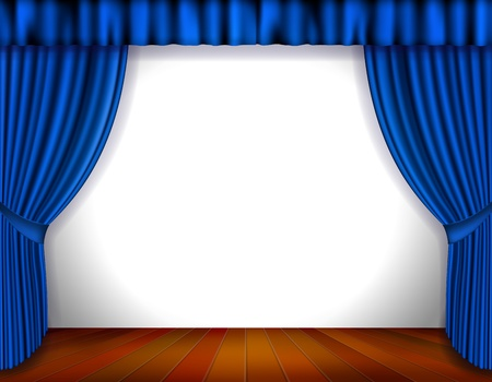 theater auditorium: Blue Curtain isolated on white  Vector Illustration