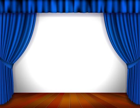 terciopelo azul: Cortina azul aislado en blanco Ilustraci�n vectorial