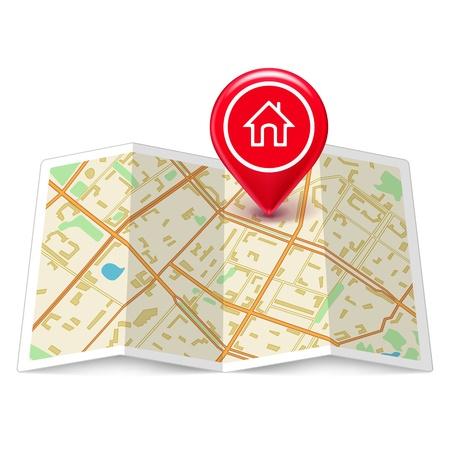 지도: 흰색에 고립 된 레이블 홈 핀 시내지도