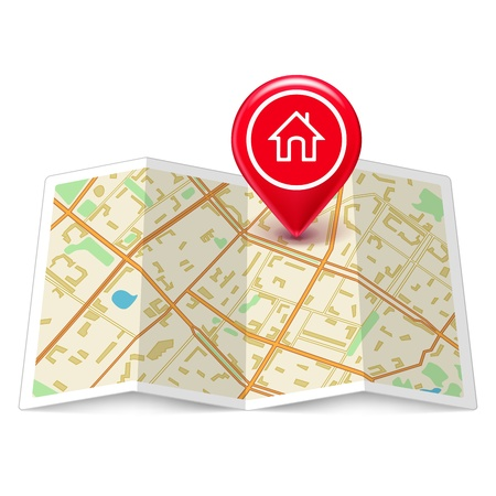 map pin: City map with label home pin isolated on white