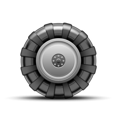 tire cover: Big black wheel of tractor isolated on white background