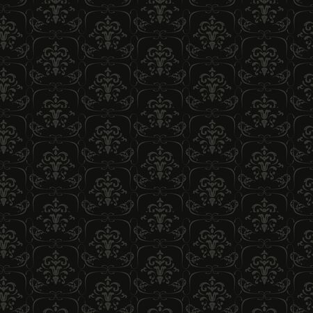 Luxury Seamless Floral Pattern gray on black Stock Vector - 17092593
