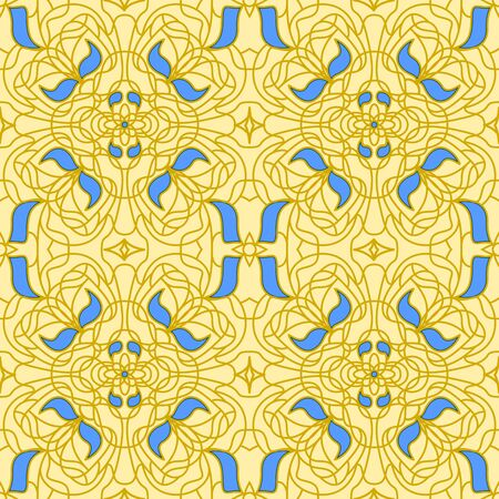 Gold and blue Seamless pattern Art Nouveau background Stock Vector - 17092582