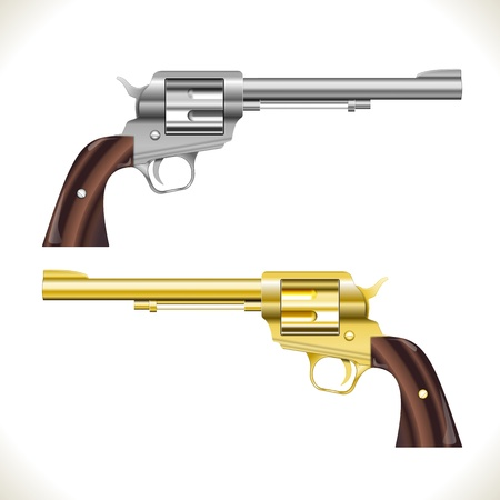 Silver and gold Revolver Gun isolated on white Stock Vector - 17092584