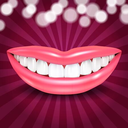 beddable Lips smile on disco background Stock Vector - 17092592