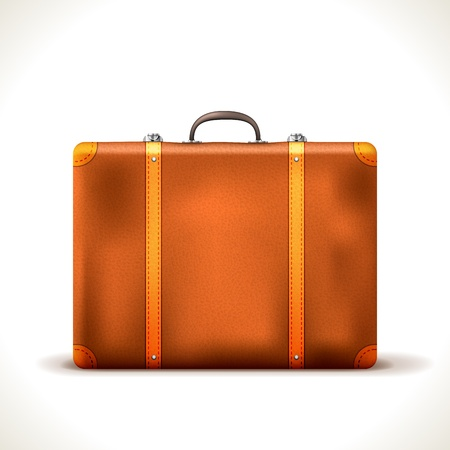 vintage Travel Suitcase isolated on white Vector