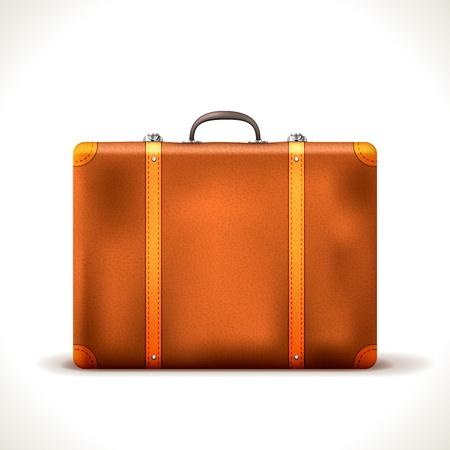 vintage Travel Suitcase isolated on white