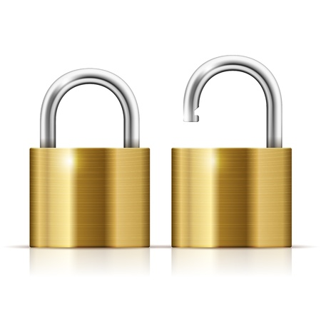 Locked and unlocked Padlock Icon isolated on white Stock Vector - 17186717