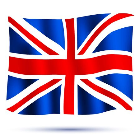 queens jubilee: Waving flag Union Jack isolated on white background