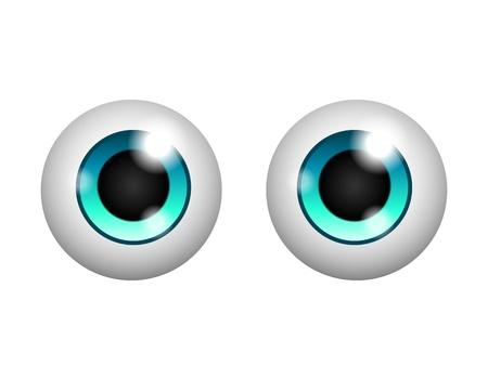 ojos caricatura: Vector bonitos ojos aislados sobre fondo blanco