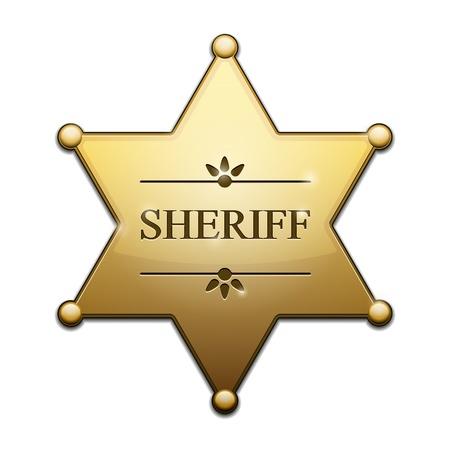 Estrella del sheriff de oro sobre fondo blanco