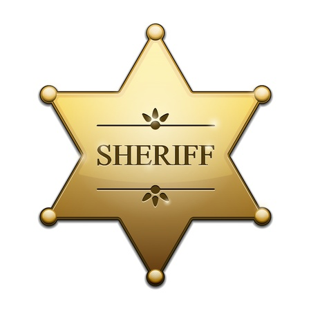 deputy sheriff:  Golden Sheriff Star over white background