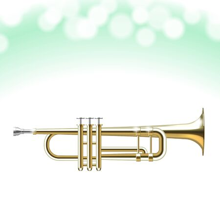 mouthpiece:  Golden Trumpet isolated on white background Illustration