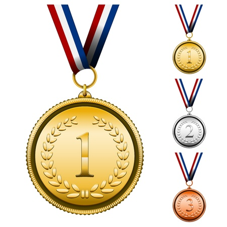 opacity: Vector Award Medals Set isolated on white  EPS10 opacity