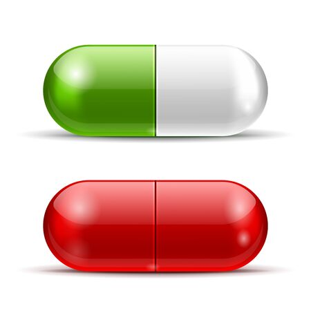 pills: Vector White and Red Pills isolated on white background  EPS10 opacity