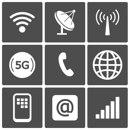 5g: Communication icons and connection symbols  wifi, gsm, phone, email