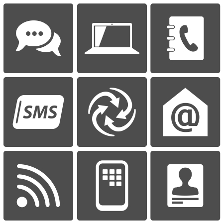 Communication icons set  chat, phone, SMS, email, laptop, contacts Stock Vector - 17622001