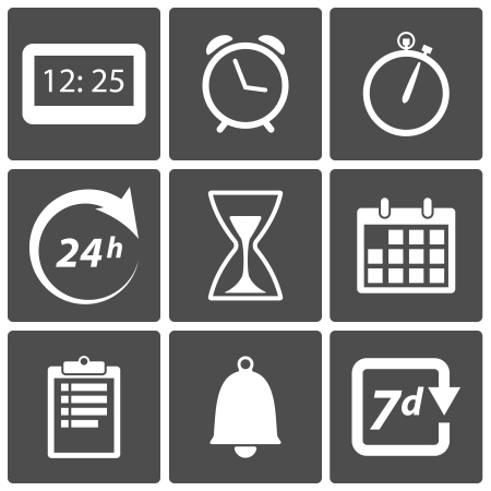 clipboard isolated: Clock and time icons  day and night, alarm, date symbols