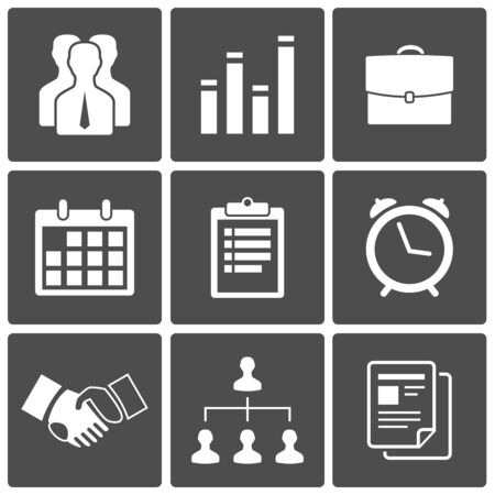 Business icons set  handshake, staff, chart, suitcase, report, calendar Stock Vector - 17621994