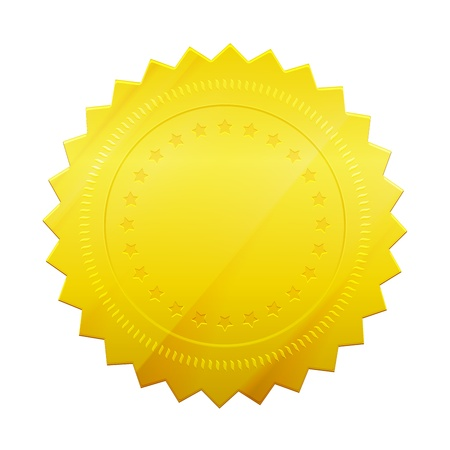 signatory: Vector Blank gold token seal isolated on white background