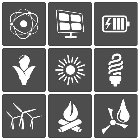 iconos energ�a: Iconos vectoriales de energ�a nuclear, solar, e�lica, bio