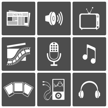 Media icons set  news, video, music, recording, photo Stock Vector - 17621988
