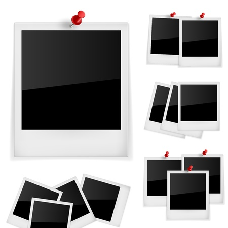 polariod: Polariod frames,  poloriod photo with pin isolated on white Illustration