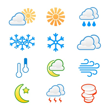 Weather icons  cloudy, rain, sunny, clear, windy Stock Vector - 17621996