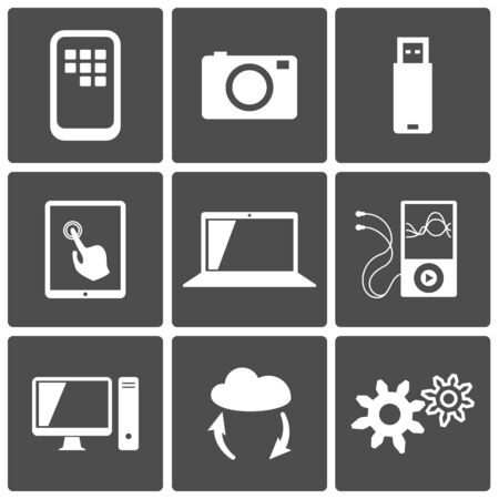 Technology icons set  computer, touch screen, photo, player, cloud, usb Stock Vector - 17621995