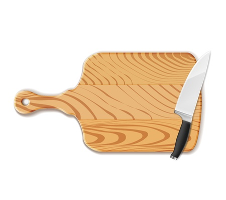chopping board: Isolated Chopping board wood and knife on white Illustration