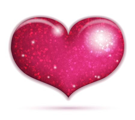 Big sparkling heart icon isolated on white Stock Vector - 17751022